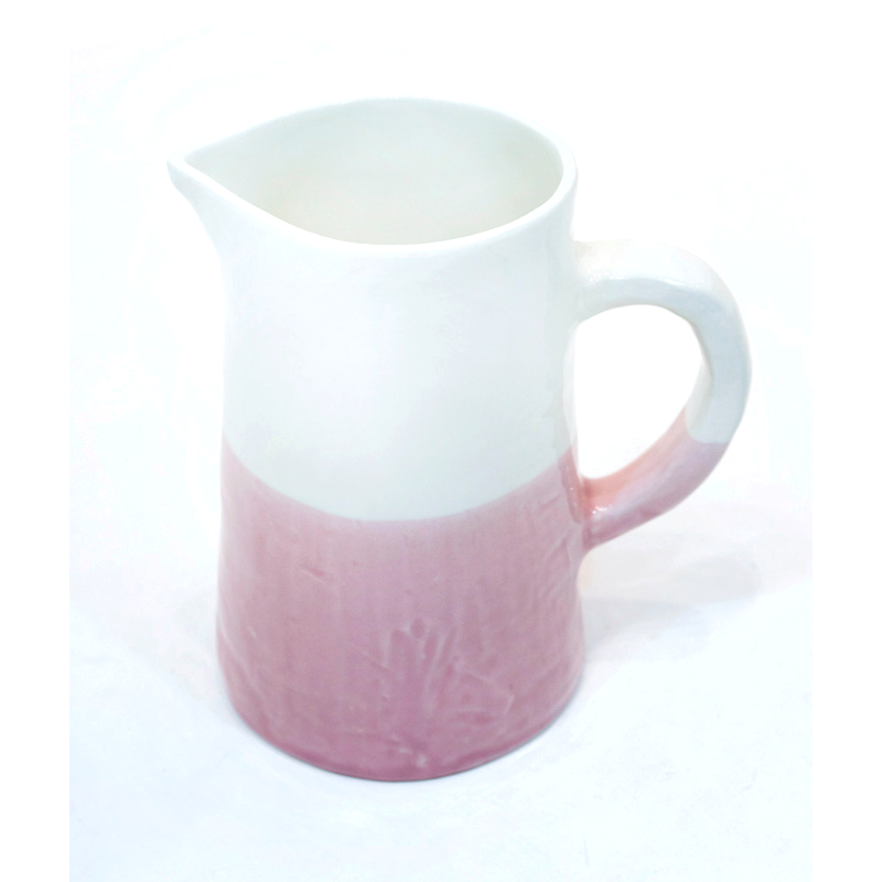 Large Jug/Pitcher Half & Half White/Pink