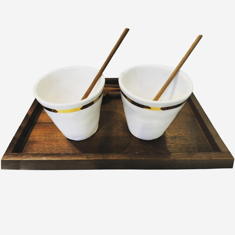 4x Cup With Golden Stripe (New)
