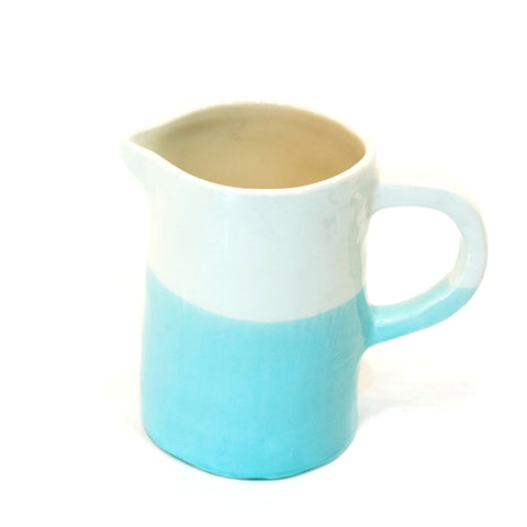 Small Jug/Pitcher Half & Half White/Turquoise