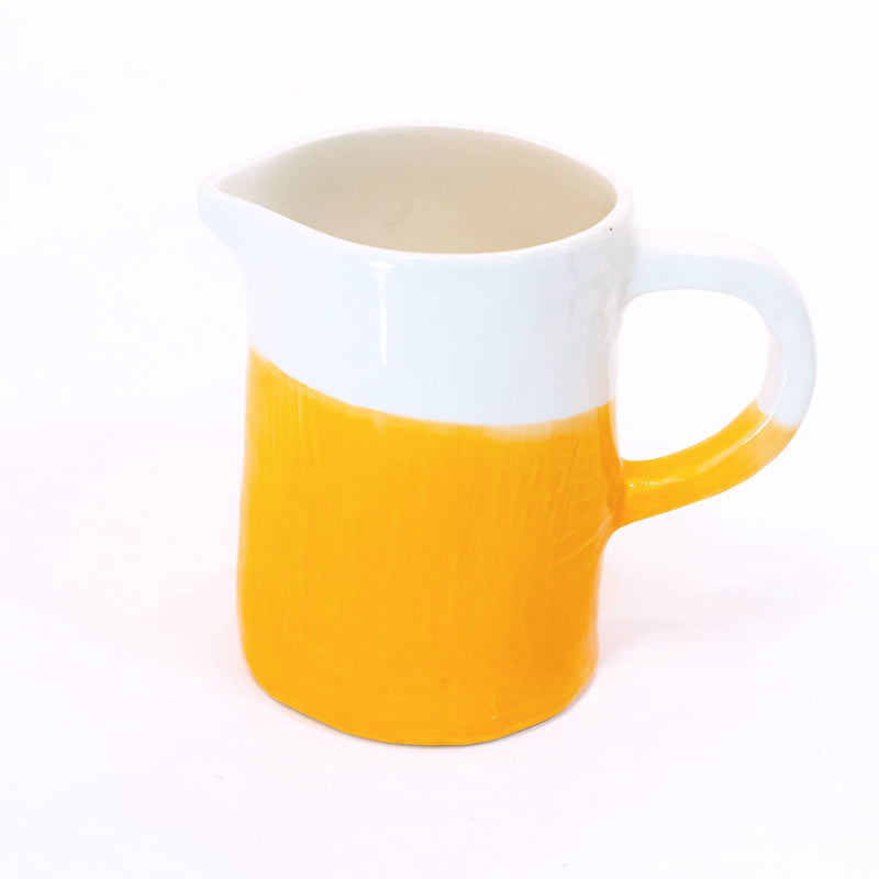 Small Jug/Pitcher Half & Half White/Orange