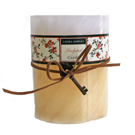 Unscented Sculpted Ivory and Cream Pillar Candle