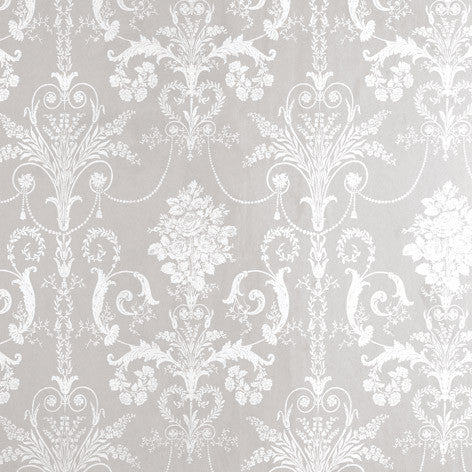 Josette White/Dove Grey Wallpaper