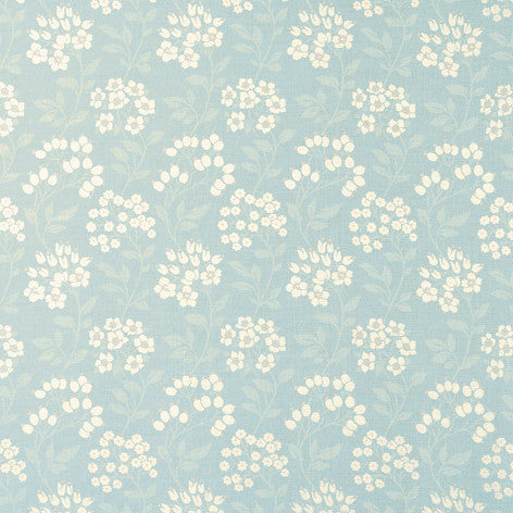 Duck Egg Floral Print Linen Fabric