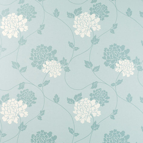 Isodore Duck Egg White Wallpaper