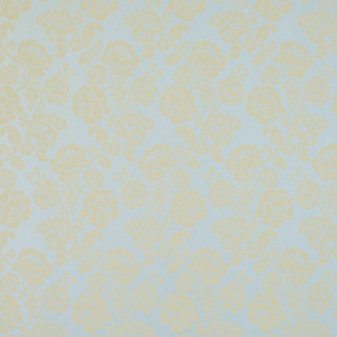 Blue Floral Damask Wallpaper