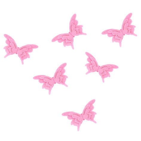 Girls Pack of 6 Pink Butterfly Felt Stickers