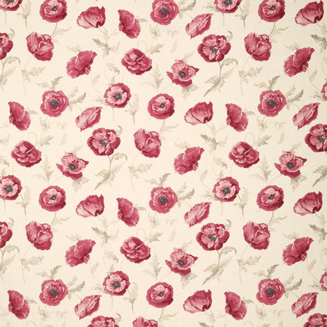 Red Floral Linen Cotton Union Fabric