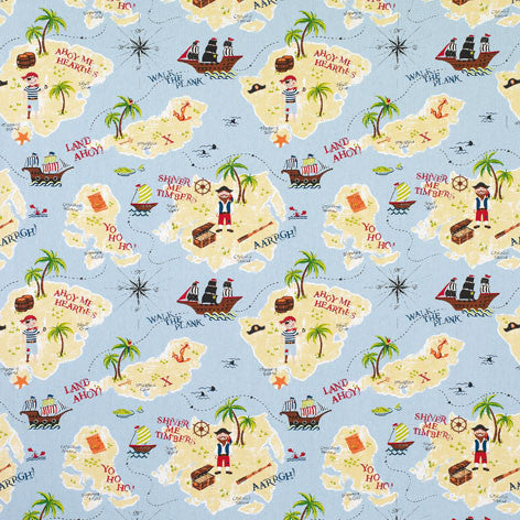 Treasure Island Blue Fabric