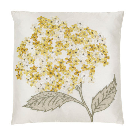 Hydrangea Embroidered Cushion