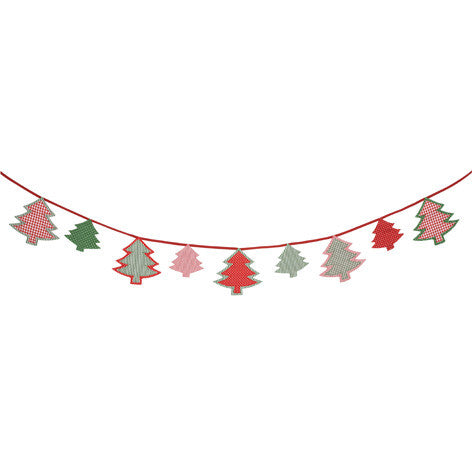 Red and Green Christmas Tree Bunting