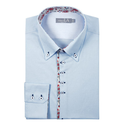 Mens Blue Shirt with Floral Trim