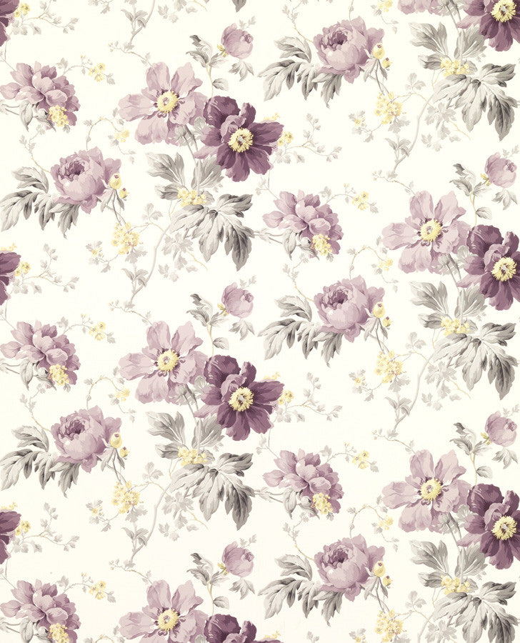 purple floral shabby chic wallpaper peony garden wallpaper. Black Bedroom Furniture Sets. Home Design Ideas