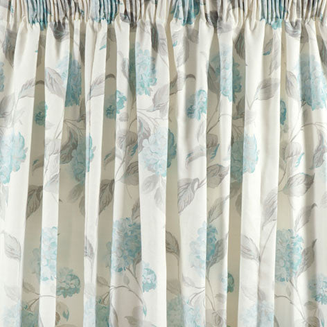 Hydrangea Duck Egg Pencil Pleat Ready Made Curtains