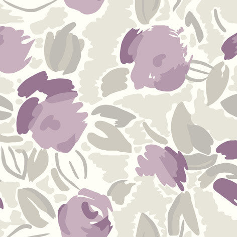 Purple Contemporary Floral Fabric