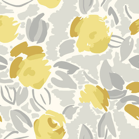 Impressionist Yellow Floral Fabric