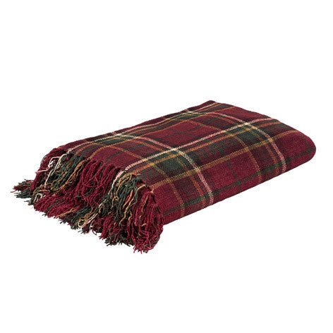 Tartan Cranberry Check Throw