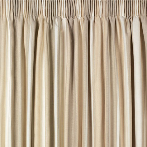 Awning Stripe Natural Pencil Pleat Ready Made Curtains