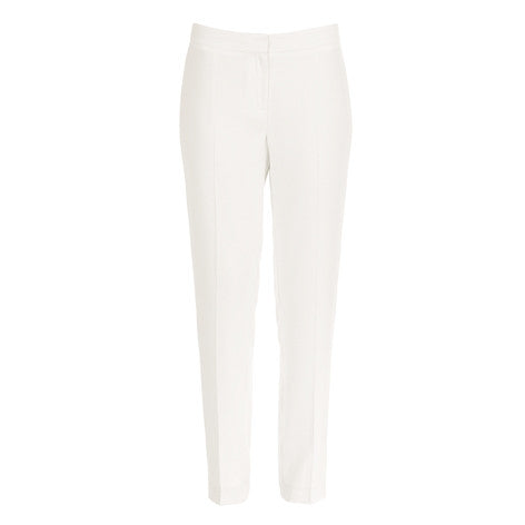 Cream Crepe Crease Front Trousers