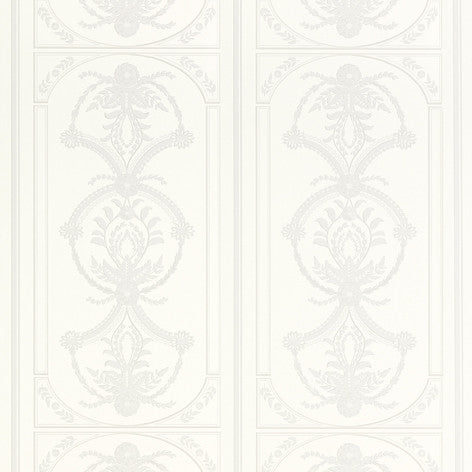 Palladian White Dove Grey Wallpaper