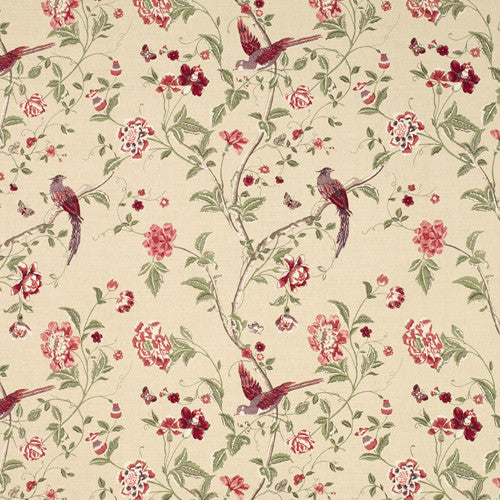 Floral Amp Bird Print Fabric Summer Palace Cranberry Fabric