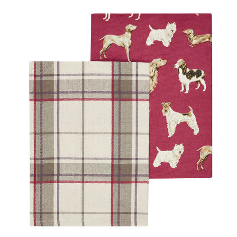 Set of 2 Highland Check Dog Tea Towels