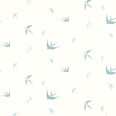 Blue Birds Off White/Seaspray Wallpaper