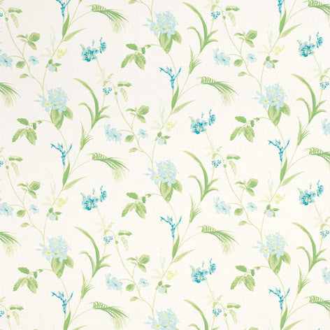Green & Blue Orchid Print Fabric
