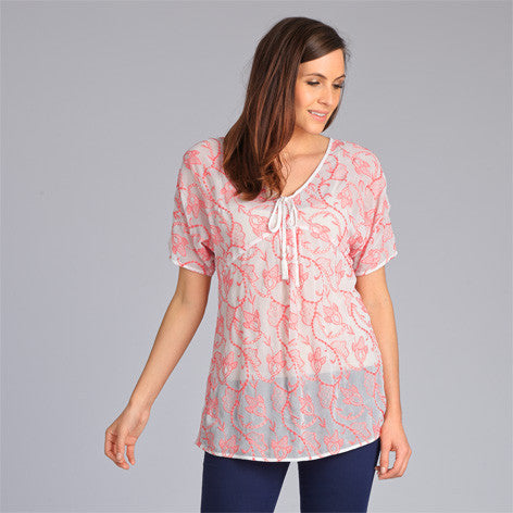Semi-Sheer Embroidered Tunic