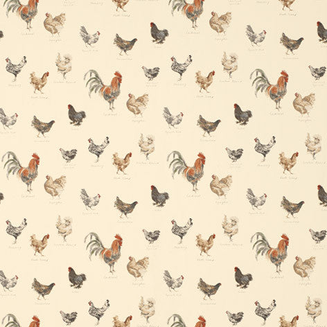 Branscombe Chickens Linen Wallpaper