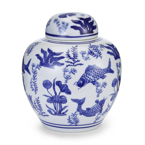 China Blue Porcelain Lidded Urn
