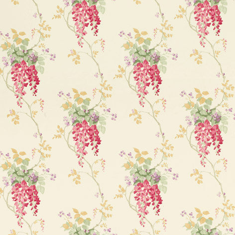 Wisteria Cranberry Floral Wallpaper