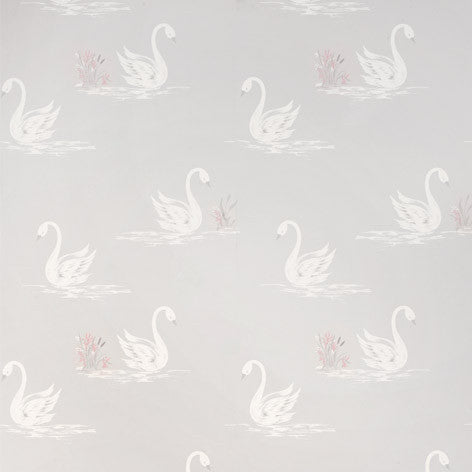 Swans Silver Wallpaper