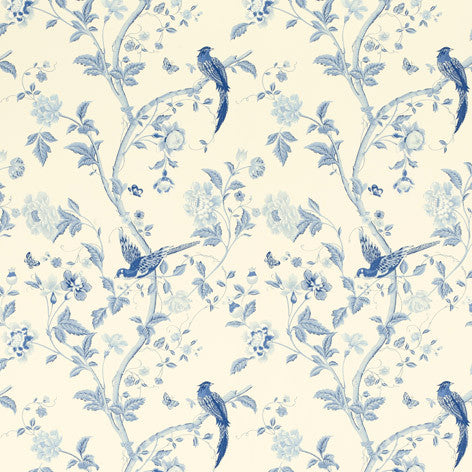 Summer Palace Royal Blue Floral Wallpaper