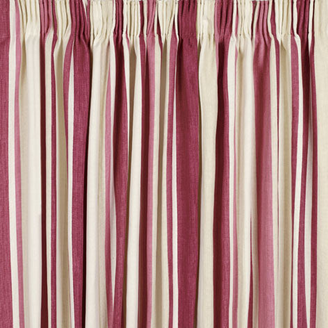 Awning Stripe Pale Cranberry Ready Made Curtains