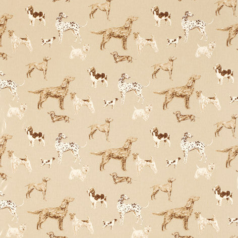 Hunterhill Dog Print Dark Linen Cotton PVC Coated Fabric