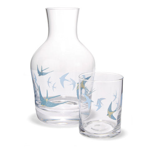 Blue Birds Carafe and Tumbler