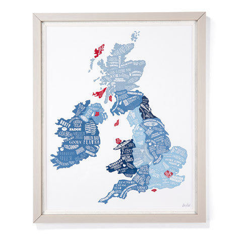 Framed Great British Food Map