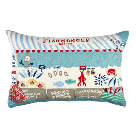 Fishmonger Embroidered Cushion