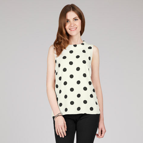 Sleeveless Collared Spot Shell Top
