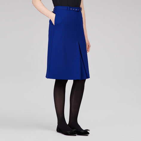 A-Line Box Pleat Belted Skirt