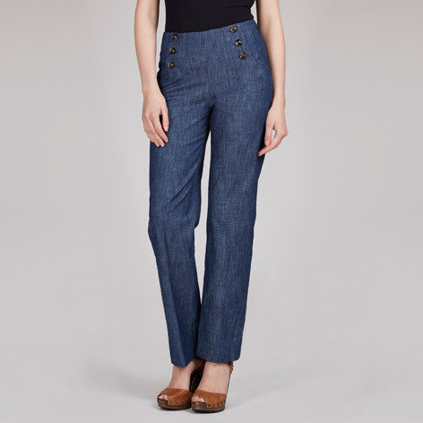 Wide Leg Chambray Sailor Trousers