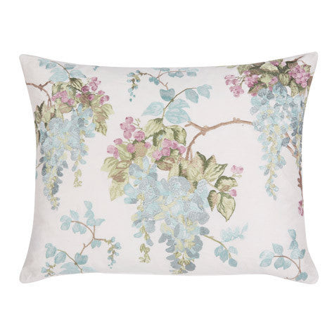 Wisteria Floral Duck Egg Embroidered Cushion