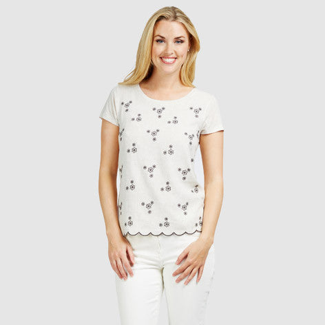 Floral Embroidered Scallop Edge T-Shirt