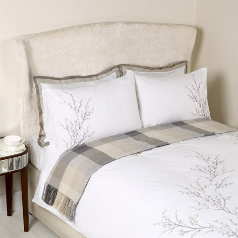 Pussy Willow Dove Grey Embroidered Duvet Cover