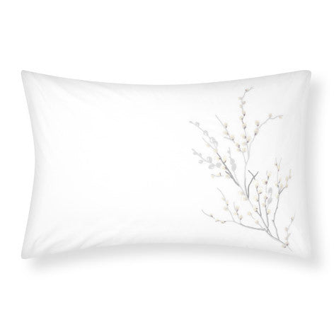 Pussy Willow Dove Grey Embroidered Sham