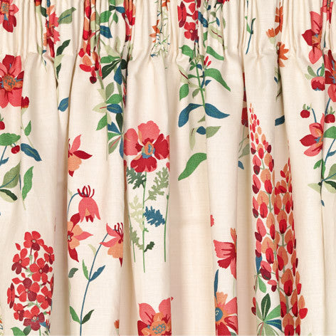 Fernshaw Cranberry Pencil Pleat Ready Made Curtains