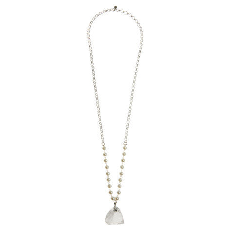 Quartz and Pearl Pendant Necklace