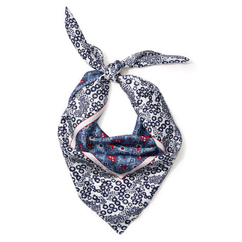 Blue Print Silk Square Scarf