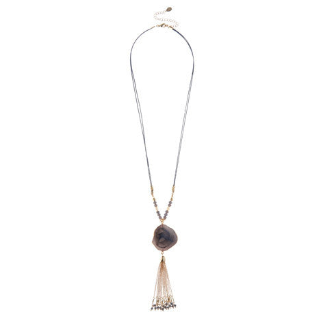 Agate Tassel Pendant Necklace