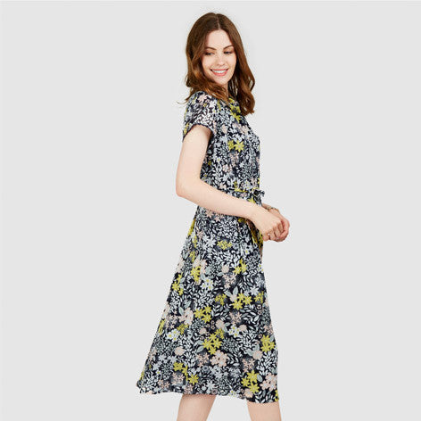 Sugar Almond Floral Print Tea Dress